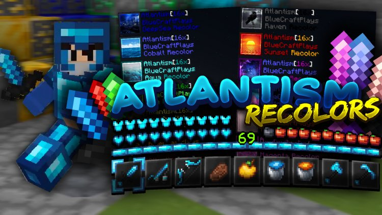 Atlantism [16x] (Blueue 3k Subs) PVP Pack + Recolors [14 Colors]