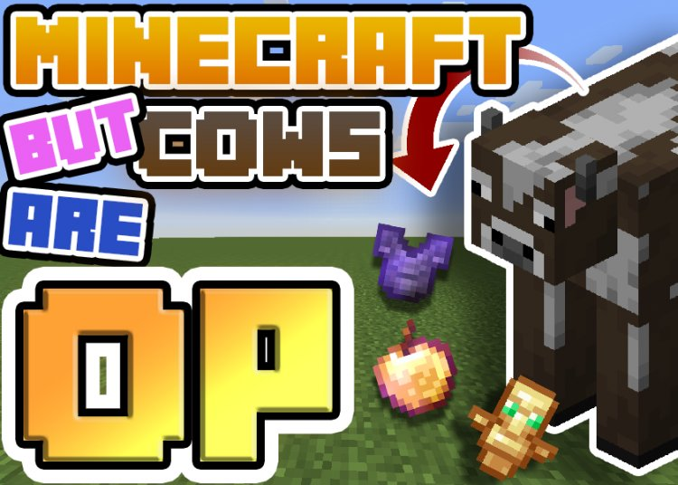 MINECRAFT, But Cows are OP!! (download available) - Bedrock Edition
